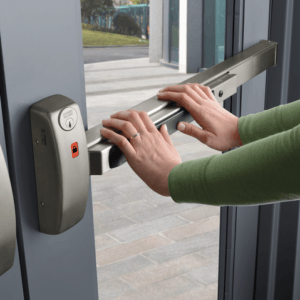 Door push bar antimicrobial wrap protects hands from germs and virus