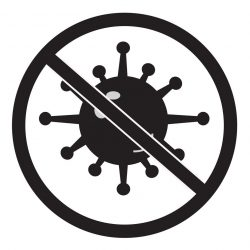 no bacteria icon on white background. no virus sign. flat style.